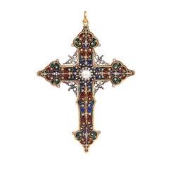 French Antique Renaissance Revival Enamel, Diamond and Pearl Cross Pendant