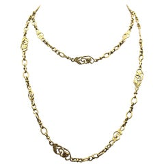 French Antique Sautoir Yellow Gold Chain Link Necklace with Lillies and Vines