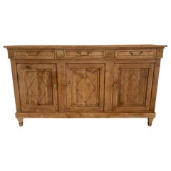 French Antique Sideboard Empire Style Bleached in Cherrywood from 19th Century