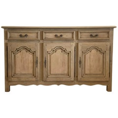 French Antique Sideboard Provencal Style Bleached in Oak from the 20th Century
