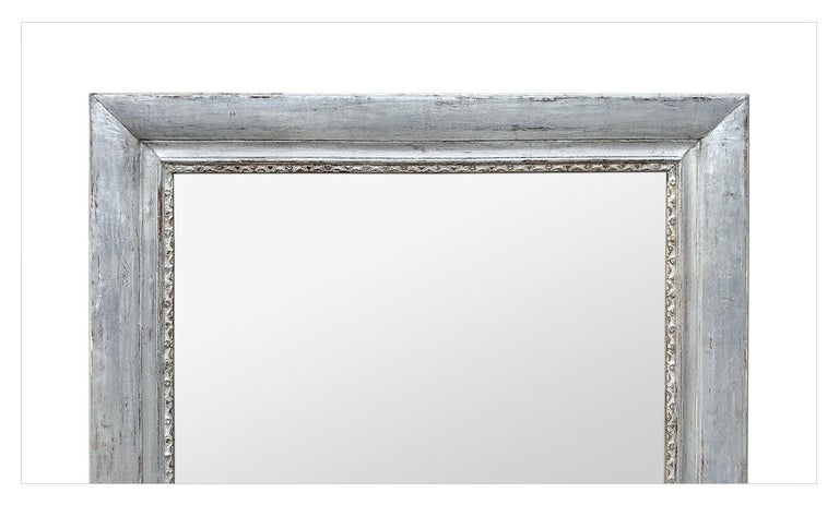 Louis Philippe French Antique Silvered Wood Mantel Mirror, 19th Century For Sale