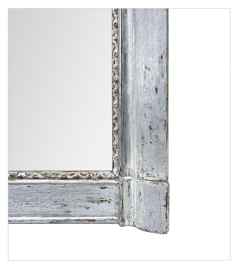 French Antique Silvered Wood Mantel Mirror, 19th Century In Good Condition For Sale In Paris, FR