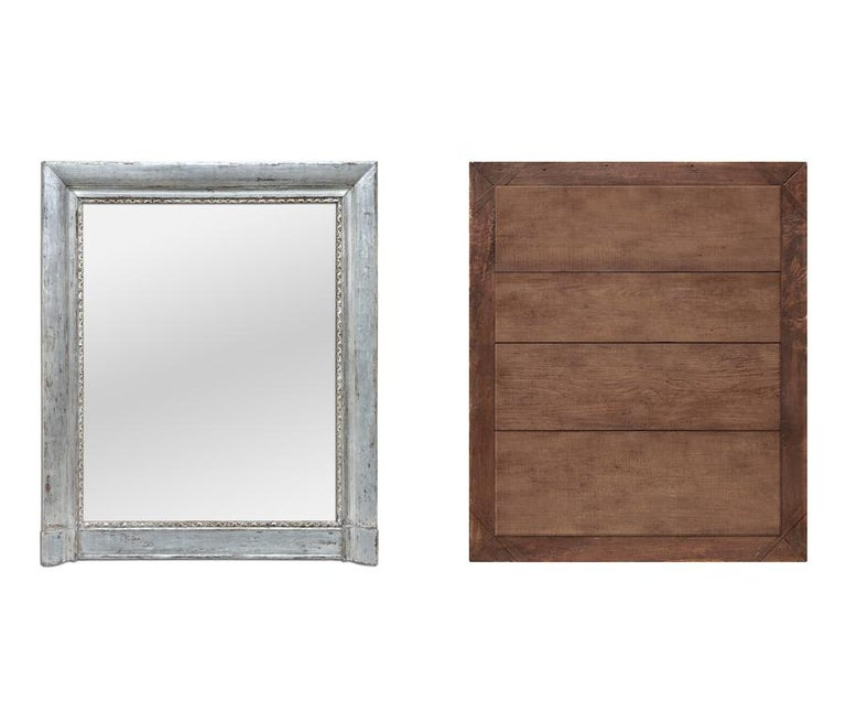 Late 19th Century French Antique Silvered Wood Mantel Mirror, 19th Century For Sale