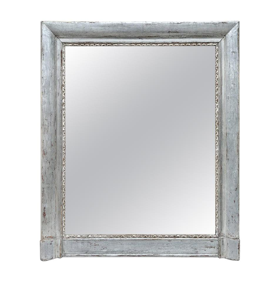 French Antique Silvered Wood Mantel Mirror, 19th Century