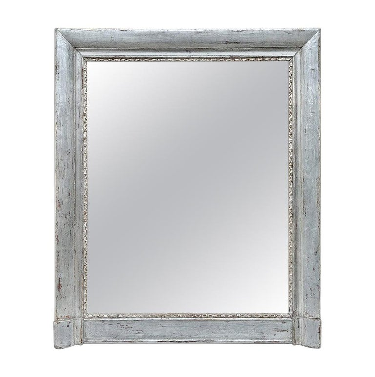 French Antique Silvered Wood Mantel Mirror, 19th Century For Sale