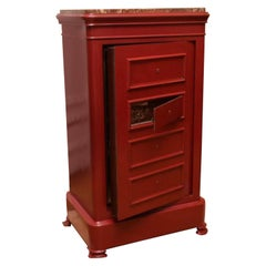 French Antique Solid Wrought Iron Red Safe Box with Marble Top, circa 1900