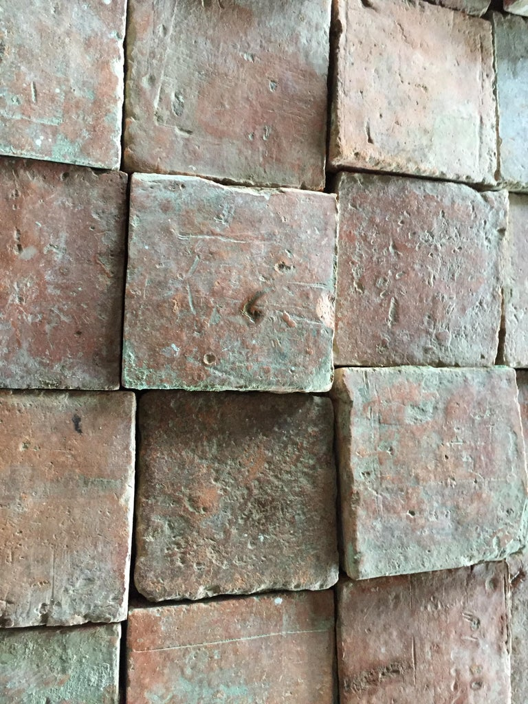 French Antique Square Terracotta from France, 18th Century For Sale 5