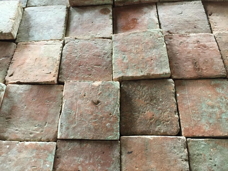 French Antique Square Terracotta from France, 18th Century For Sale 6