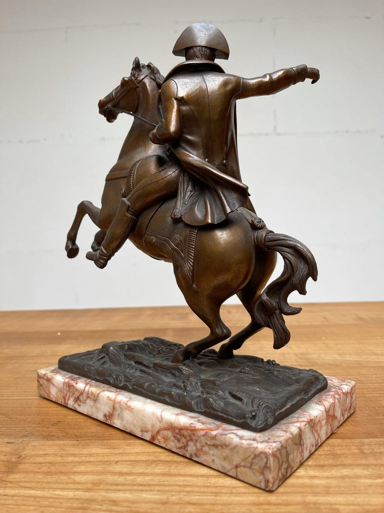 French Antique Stately Bronze Napoleon on Prancing Horse Sculpture, Marble Base For Sale 4