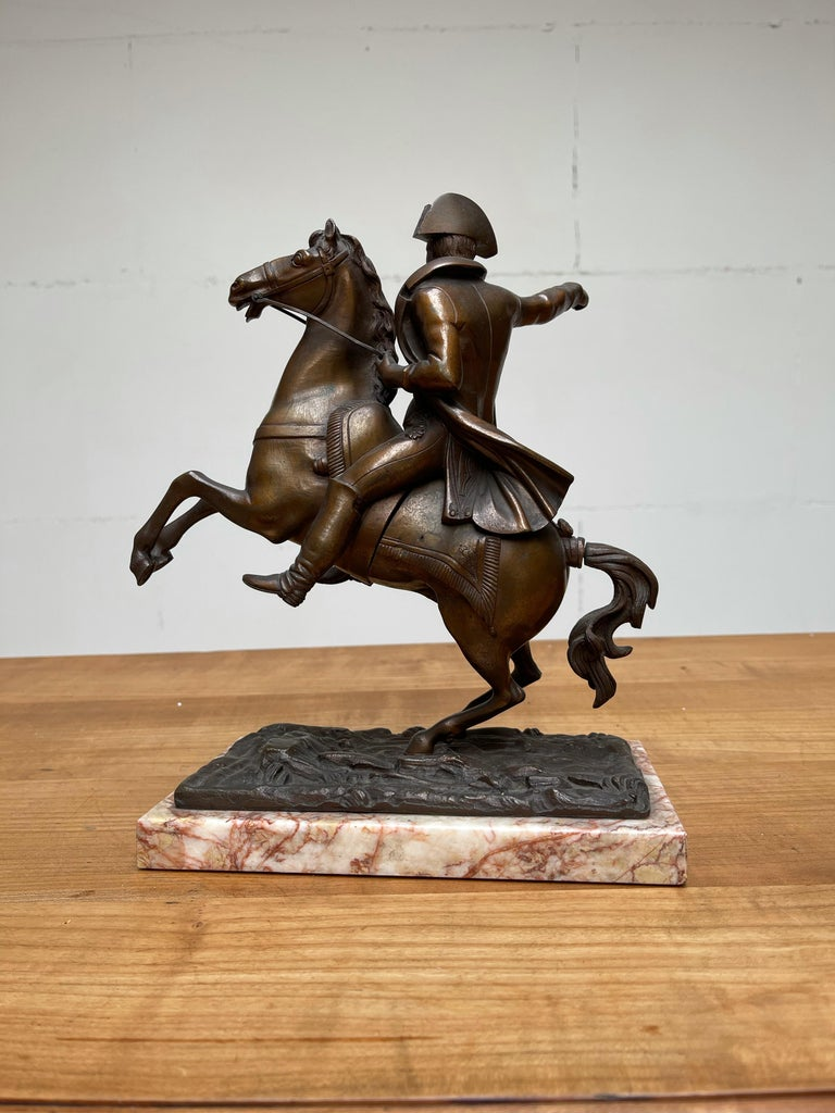 French Antique Stately Bronze Napoleon on Prancing Horse Sculpture, Marble Base For Sale 6