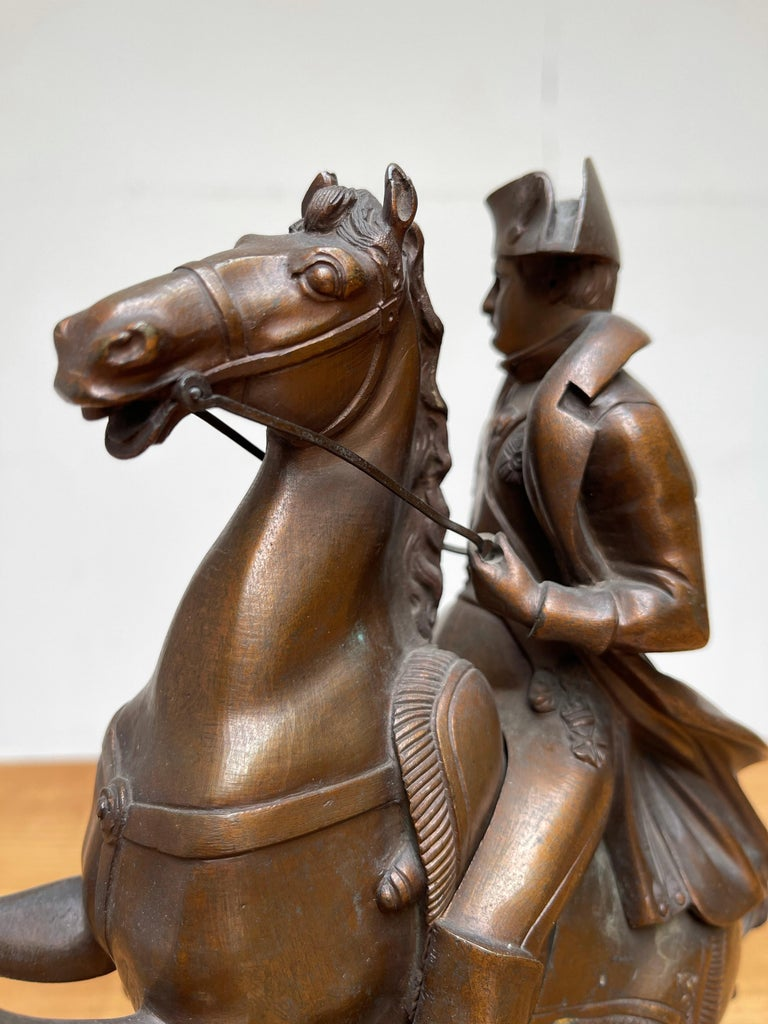 French Antique Stately Bronze Napoleon on Prancing Horse Sculpture, Marble Base For Sale 9