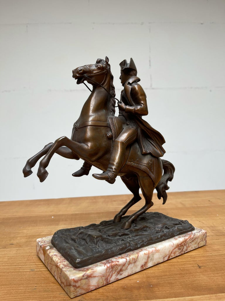 French Antique Stately Bronze Napoleon on Prancing Horse Sculpture, Marble Base For Sale 10