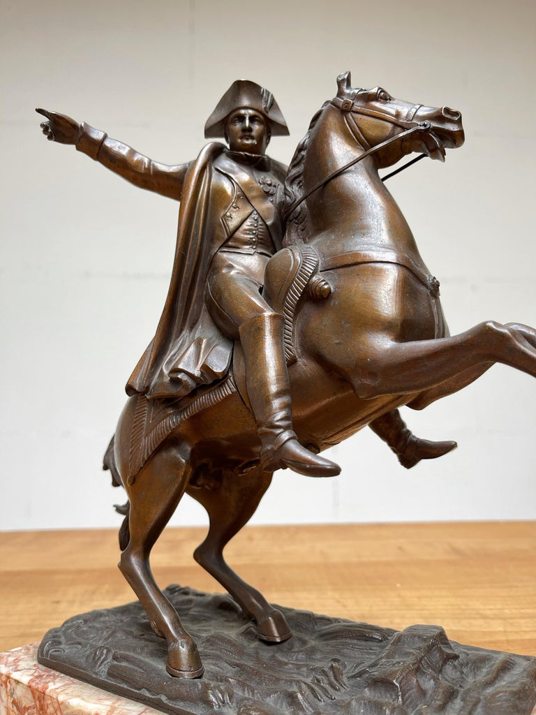 French Antique Stately Bronze Napoleon on Prancing Horse Sculpture, Marble Base For Sale 12