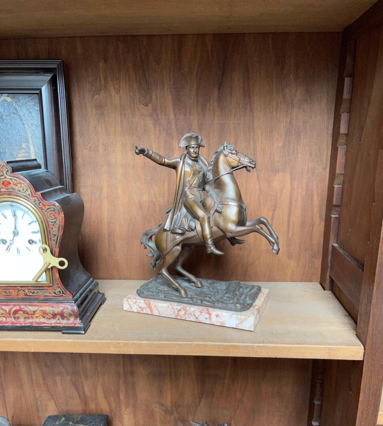 French Antique Stately Bronze Napoleon on Prancing Horse Sculpture, Marble Base For Sale 14