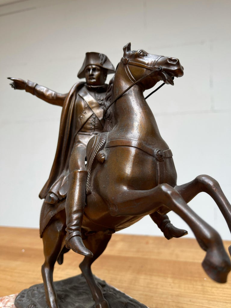 Empire French Antique Stately Bronze Napoleon on Prancing Horse Sculpture, Marble Base For Sale