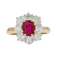 French Antique Style Ruby Diamonds 18 Karat Yellow Gold Daisy Ring