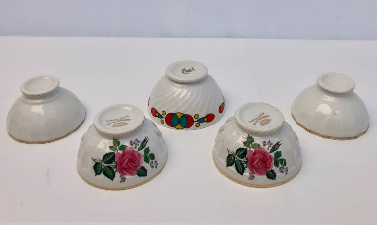 French Provincial French Antique Tea Bowls or Children's Bowls, 1900s, Set of Five For Sale