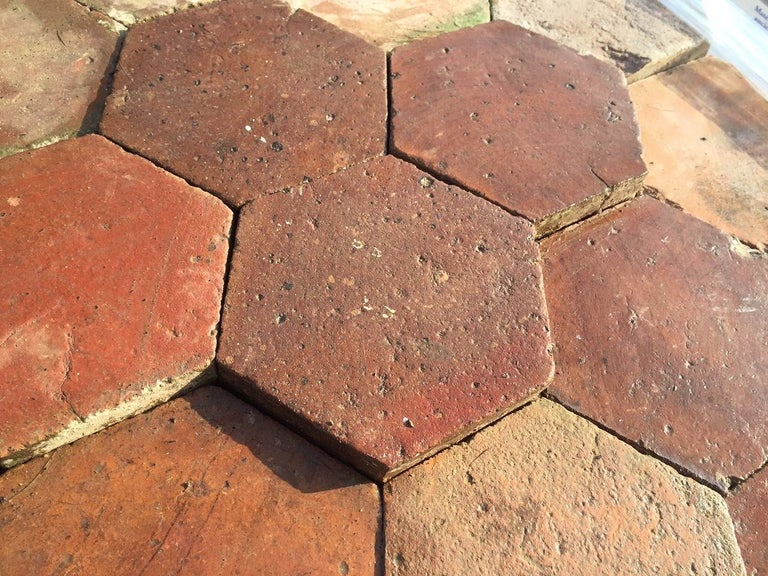 Hand-Crafted French Antique Terracotta Flooring, Original, 18th Century, France For Sale