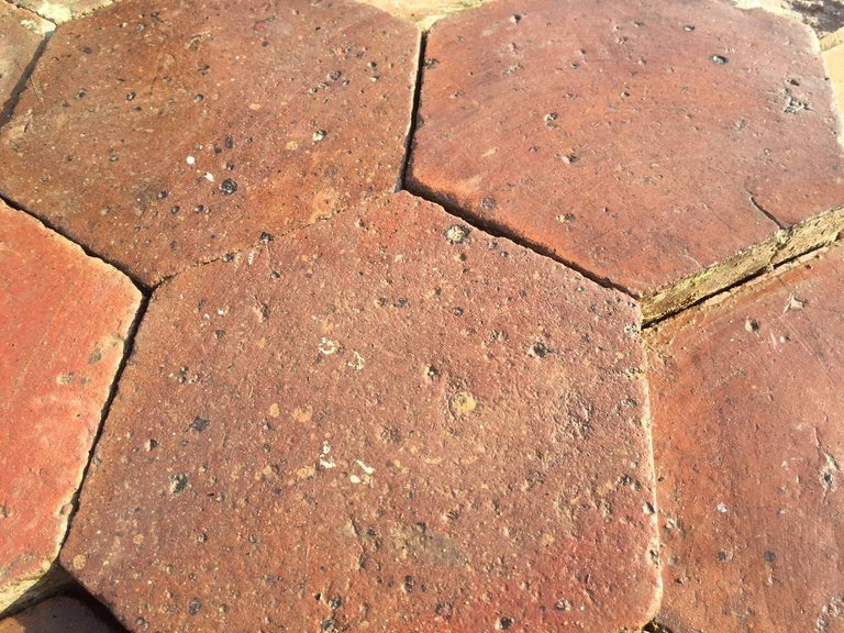 French Antique Terracotta Flooring, Original, 18th Century, France In Good Condition For Sale In LOS ANGELES, CA