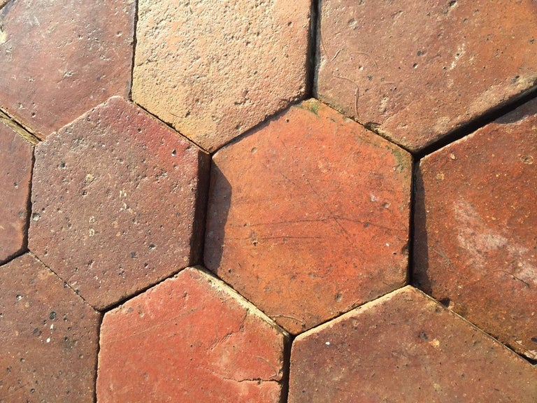 18th Century and Earlier French Antique Terracotta Flooring, Original, 18th Century, France For Sale