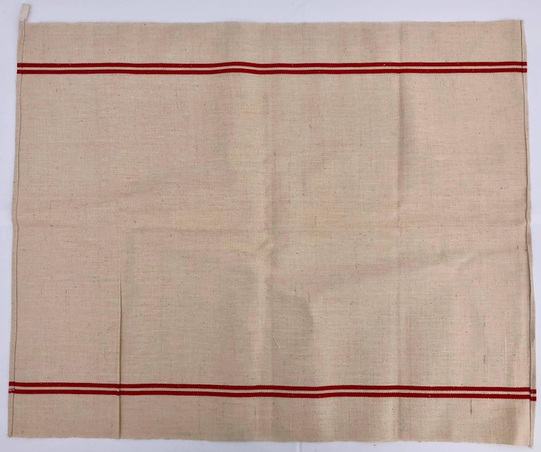 Embroidered French Antique Thick Linen Kitchen Towels with Red Stripes, Set of 6 For Sale