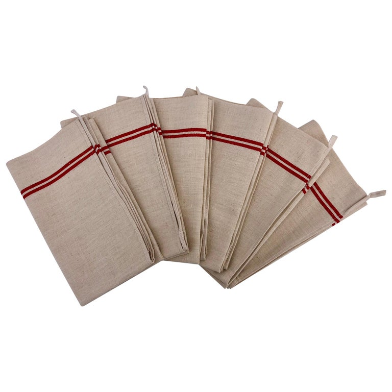 French Antique Thick Linen Kitchen Towels with Red Stripes, Set of 6 For Sale