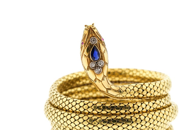 French Antique Victorian 18 Karat Gold Sapphire Diamond Coiling Snake Bracelet In Excellent Condition For Sale In New York, NY