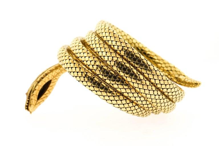 Women's or Men's French Antique Victorian 18 Karat Gold Sapphire Diamond Coiling Snake Bracelet For Sale
