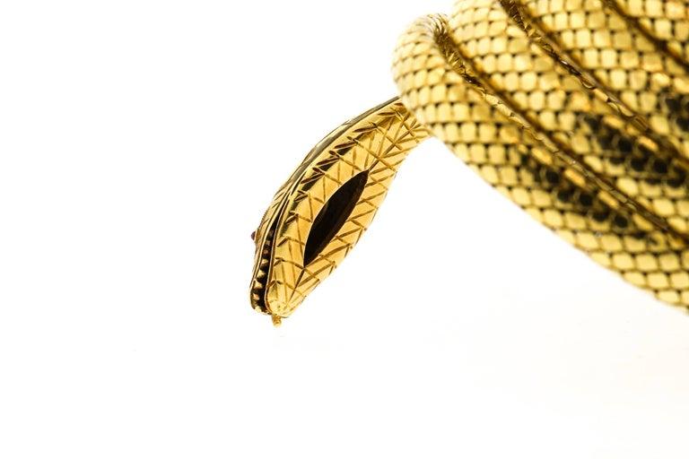 French Antique Victorian 18 Karat Gold Sapphire Diamond Coiling Snake Bracelet For Sale 1