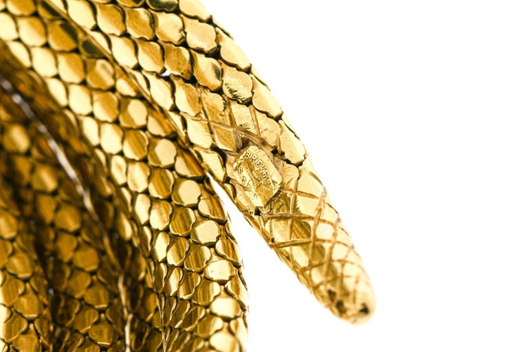 French Antique Victorian 18 Karat Gold Sapphire Diamond Coiling Snake Bracelet For Sale 2