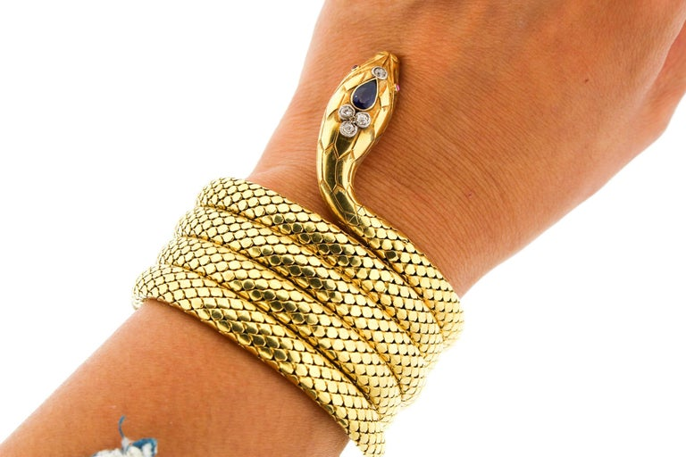 French Antique Victorian 18 Karat Gold Sapphire Diamond Coiling Snake Bracelet For Sale 3