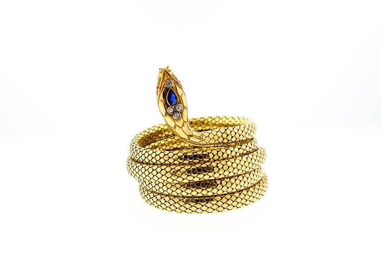 French Antique Victorian 18 Karat Gold Sapphire Diamond Coiling Snake Bracelet For Sale 4