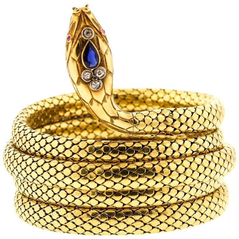 French Antique Victorian 18 Karat Gold Sapphire Diamond Coiling Snake Bracelet For Sale