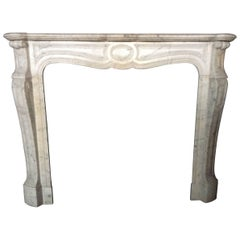 French Antique White Marble Fireplace Louis XV Style Volutes 19th Century France