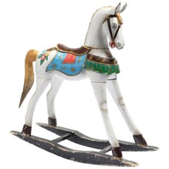French Antique Wooden Hand Carved and Hand Painted Rocking Horse