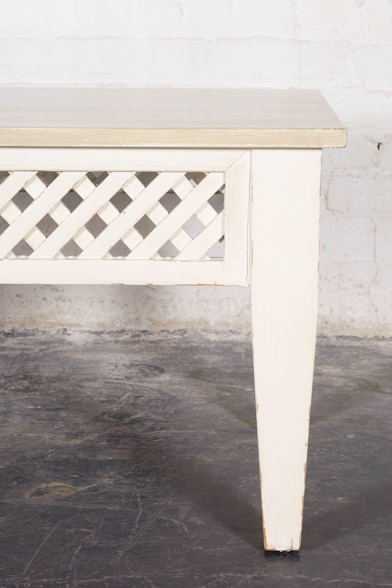French Antiqued Gray And White Painted Coffee Table For Sale