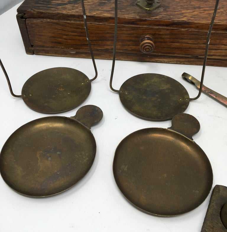 French Apothecary Brass Scales, circa 1800s 7
