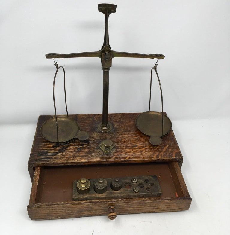 19th Century French Apothecary Brass Scales, circa 1800s