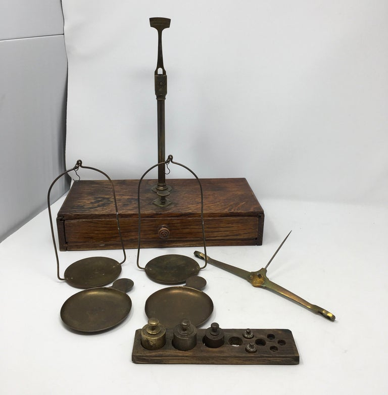 French Apothecary Brass Scales, circa 1800s 4