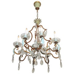 French Aqua and Gilt Iron Cage Form Crystal Chandelier