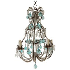 French Aqua Blue Murano Balls Beaded Swags Chandelier, circa 1900