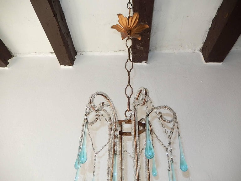 French Aqua Blue Murano Drops Beaded Chandelier In Good Condition For Sale In Modena (MO), IT