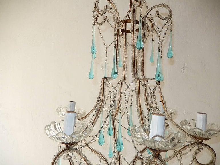 Crystal French Aqua Blue Murano Drops Beaded Chandelier For Sale