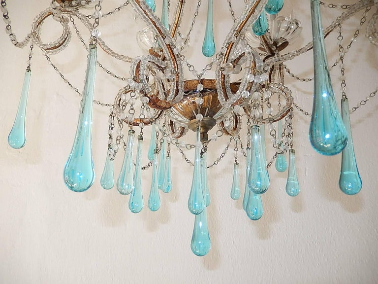 French Aqua Blue Murano Drops Beaded Chandelier For Sale 1