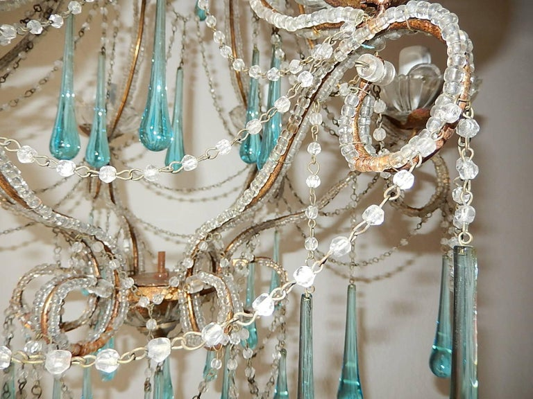 French Aqua Blue Murano Drops Beaded Chandelier For Sale 2