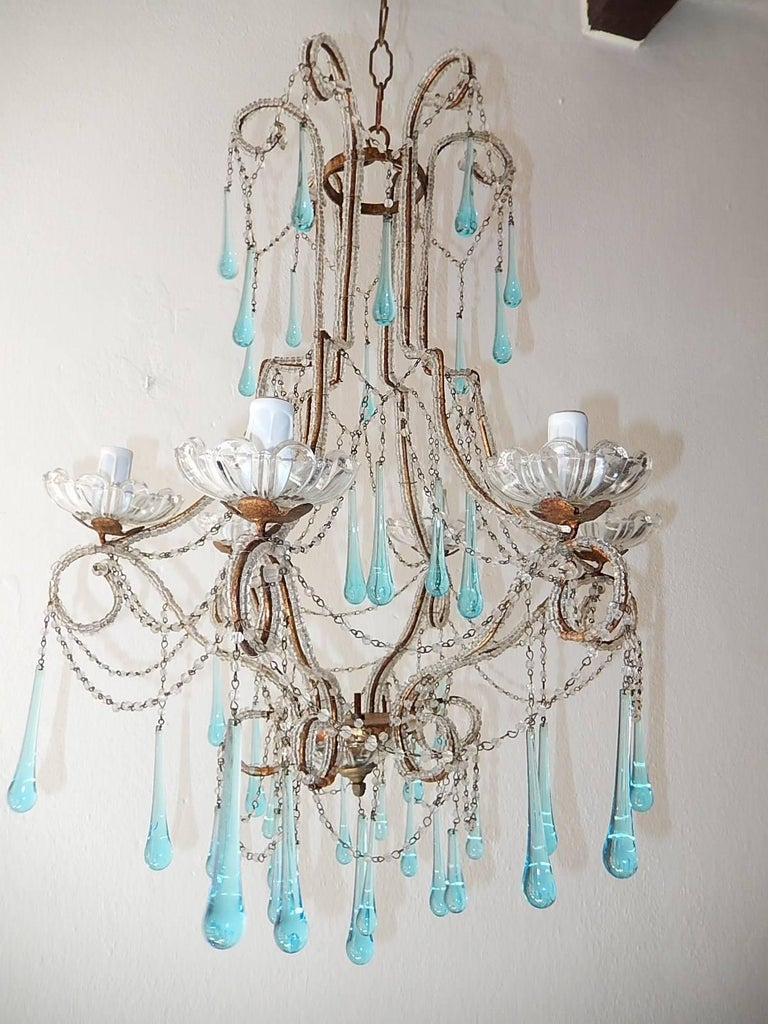 French Aqua Blue Murano Drops Beaded Chandelier For Sale 3