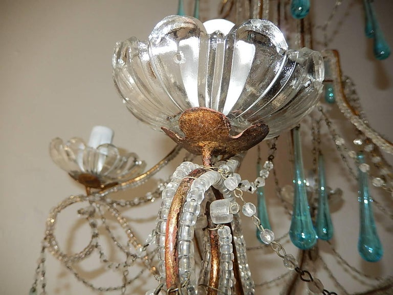 French Aqua Blue Murano Drops Beaded Chandelier For Sale 4