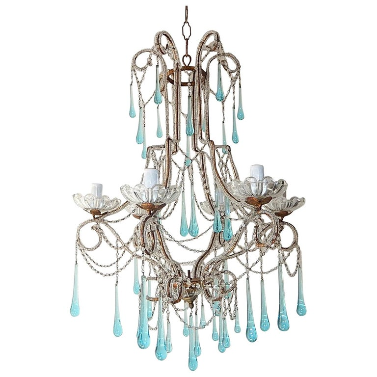 French Aqua Blue Murano Drops Beaded Chandelier For Sale