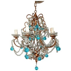French Aqua Blue Murano Drops Crystal Chandelier, circa 1920
