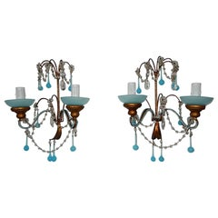 French Aqua Blue Opaline Drops Bead Bobeches Rock Crystal Sconces